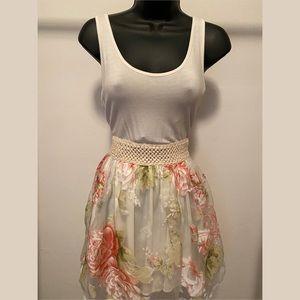 a'gaci Cream Floral A-Line Mini Dress Small -  D27